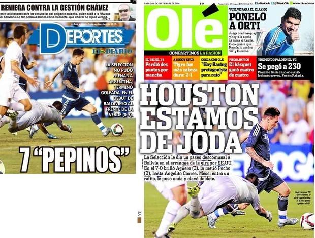 Capas dos jornais sobre a vitória da Argentina