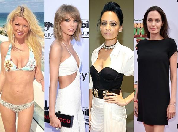 Tara Reid, Taylor Swift, Nicole Richie e Angelina Jolie (Foto: Getty Images)