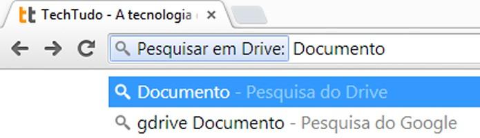 Aplicativos como Gmail ou Drive podem ser pesquisados através da barra de endereços (foto: Reprodução/Chrome)