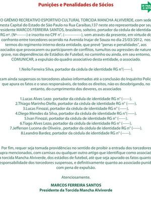 Comunicado da Mancha Alviverde (Foto: Reprodução da Internet)