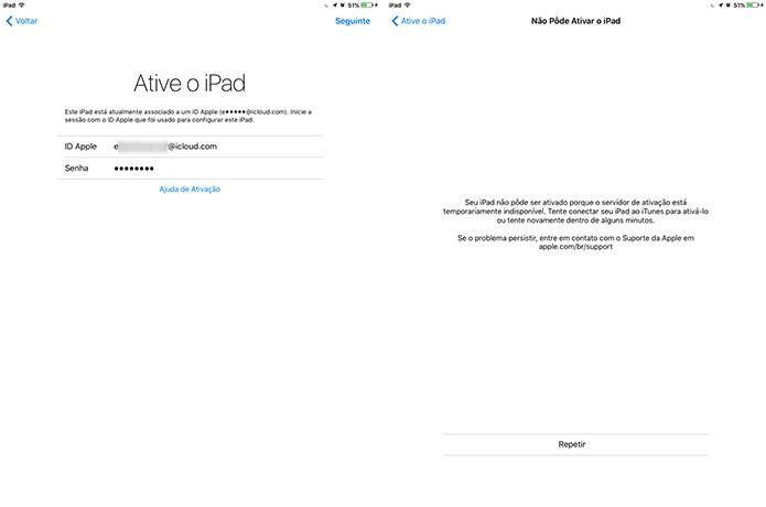 iOS 9.3 apresenta erro durante a ativação com Apple ID do usuário (Foto: Reprodução/Elson de Souza)