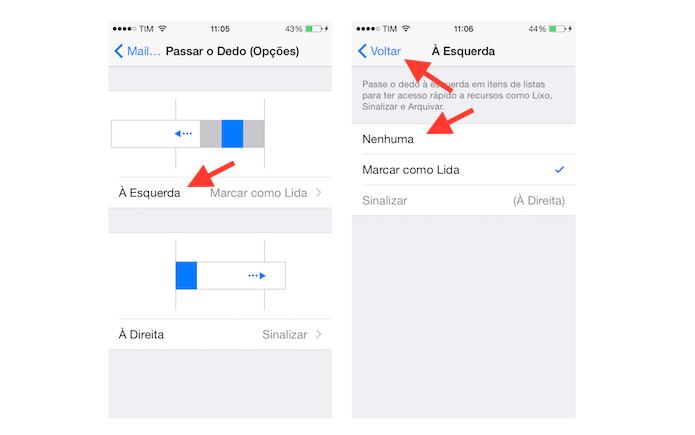 Desativando o comando de deslize de dedos para esquerda no Mail do iOS (Foto: Reprodução/Marvin Costa)