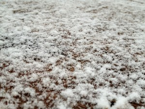 Neve caiu em São Joaquim nesta quarta (Foto: Larissa Vier/RBS TV)