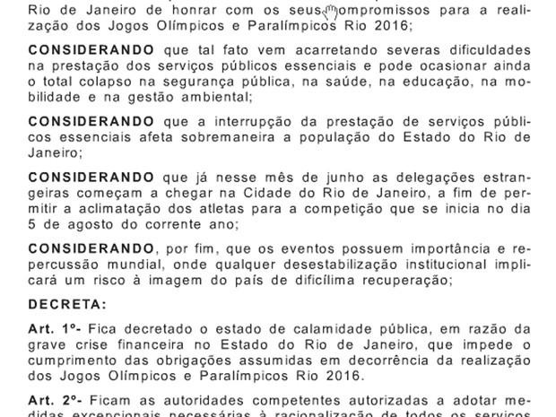 Decreto foi publicado nesta sexta-feira no Diário Oficial do RJ (Foto: Reprodução/Diário Oficial do RJ)