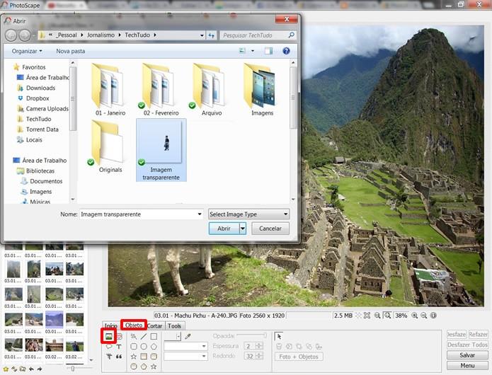 Faça uma montagem no PhotoScape selecionando os comandos em destaque para inserir a figura de fundo transparente (Foto: Reprodução/Daniel Ribeiro)