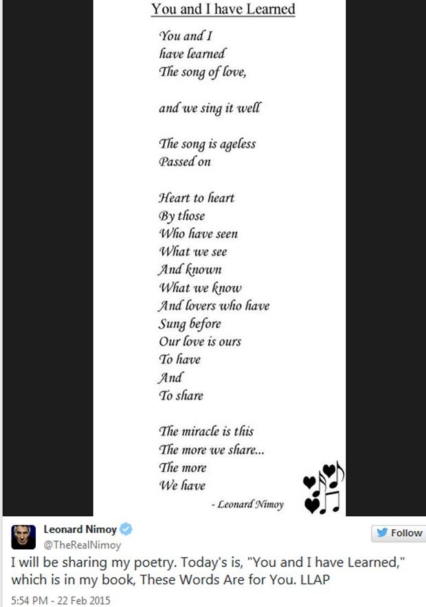 Poema compartilhado por Leonard Nimoy no Twitter (Foto: Reprodução / Twitter)