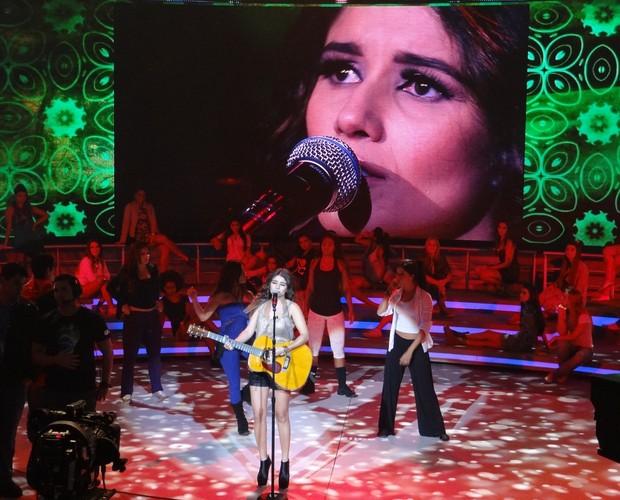 Paula Fernandes ensaia (Foto: TV Globo / Divulgação)
