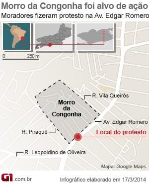 Morro da congonha foi alvo de operação da polícia militar e uma auxiliar de serviços gerais foi atingida por uma bala perdida (Foto: Editoria de Arte/G1)