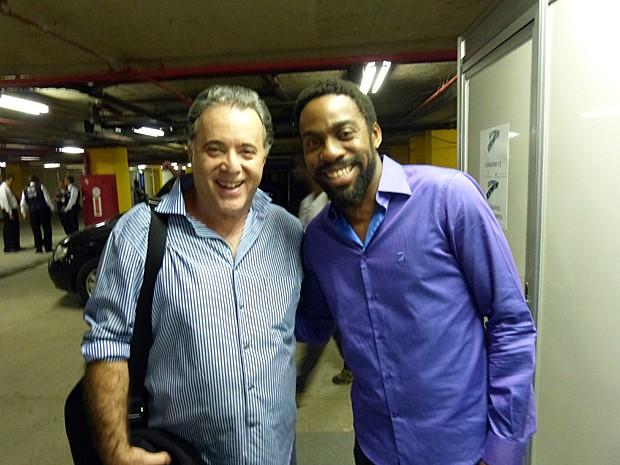 Lázaro Ramos posa com Tony Ramos (Foto: Vídeo Show/TV Globo)