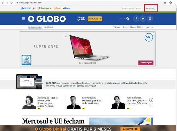 Autenticação site o globo (Foto: globo)
