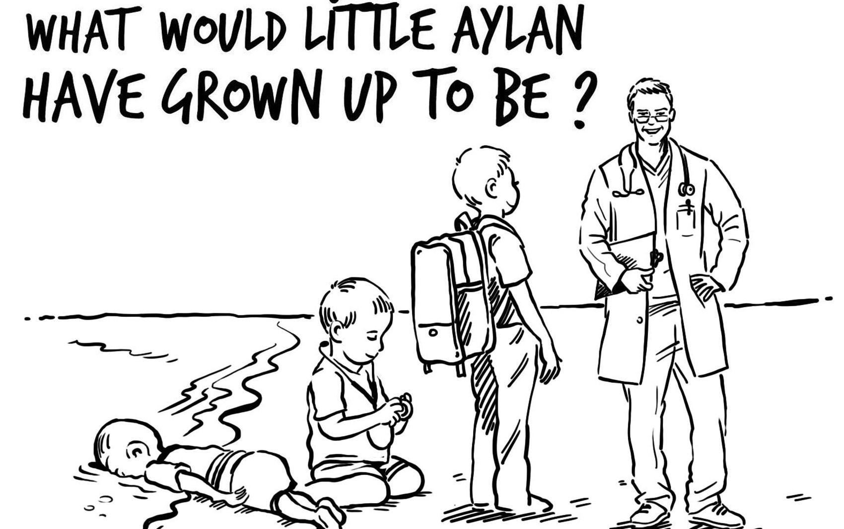 Desenho publicado pela rainha Rania, da Jordânia, questiona o que o menino Aylan poderia ser quando crescesse (Foto: Reprodução/Facebook/Queen Rania)