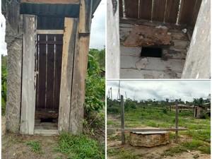 Banheiro fica do lado de fora do prédio; poço usado para levar água a escola fica perto do banheiro (Foto: Arquivo pessoal)