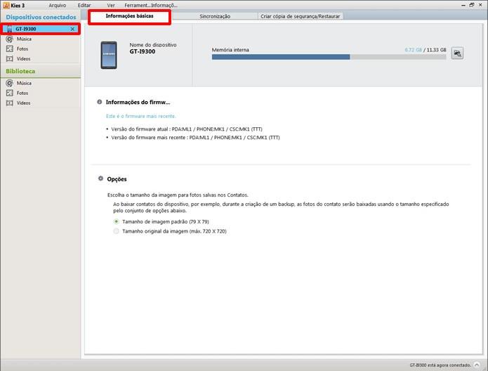 O aparelho Samsung será identificado assim que for conectado ao PC. Clique na aba indicada para visualizar seu status (Foto: Reprodução/Daniel Ribeiro)