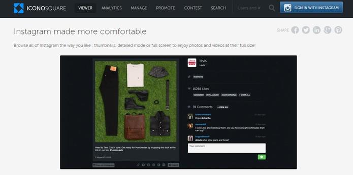 IconoSquare também tem opção para visualizar as novidades do Instagram no PC (Foto: Reprodução/Barbara Mannara)