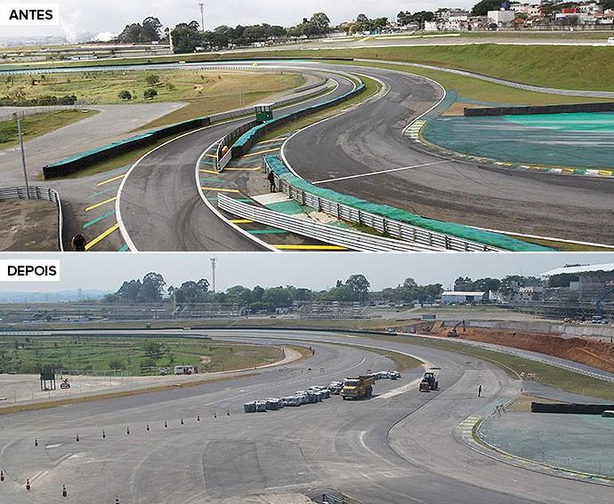 Antes e depois Autódromo de Interlagos (Foto: Divulgação / GP do Brasil)