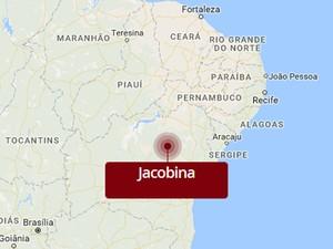 Jacobina, Bahia (Foto: Editoria de Arte/G1)