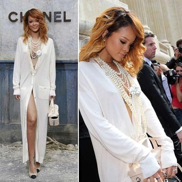 O look escolhido por Rihanna para comparecer ao desfile da Chanel (Foto: Reprodução/Instagram)