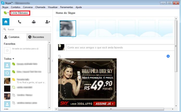Atual nome de usuário no Skype (Foto: Reprodução/Lívia Dâmaso)