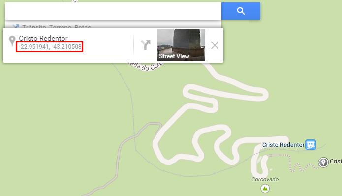 Coordenadas são exibidas junto de outras informações sobre o local pesquisado (foto: Reprodução/Google)