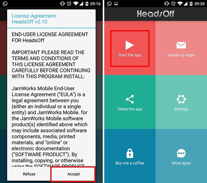 HeadsOff exige que usuário aceite um termo antes de modificar as notificações (Foto: Reprodução/Elson de Souza)