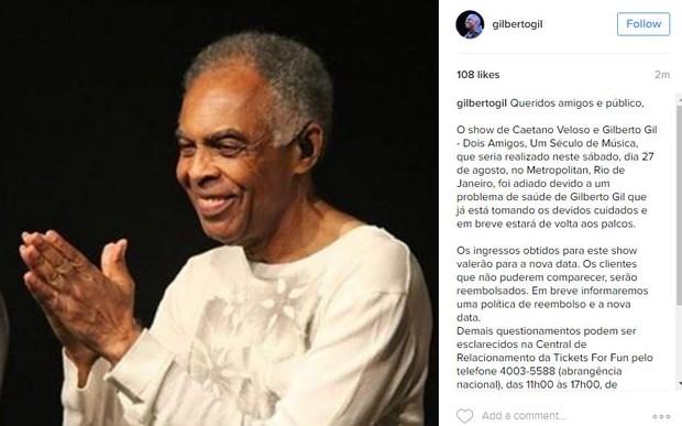 Gilberto Gil  (Foto: Instagram / Reprodução)