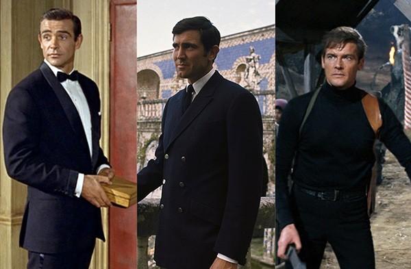 Sean Connery em O Satânico Dr. No (1962),  George Lazenby em 007 - A Serviço Secreto de Sua Majestade (1969), Roger Moore em Com 007 Viva e Deixe Morrer (1973) (Foto: Divulgação)