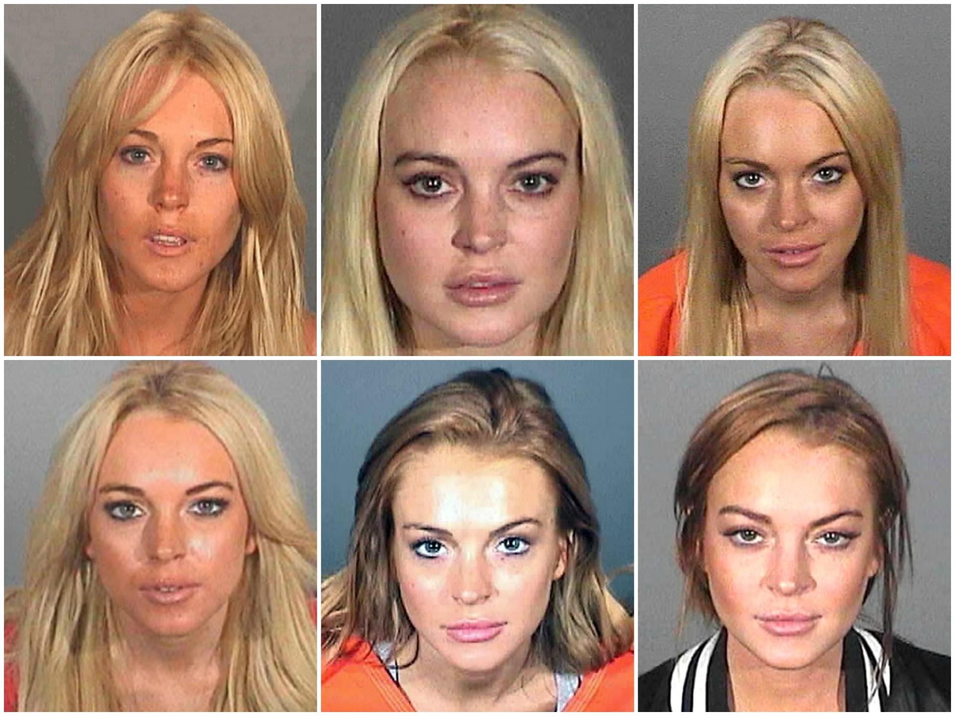 Lindsay Lohan ao longo dos últimos anos. Acusações: tirar racha, porte de drogas (cocaína), dirigir alcoolizada (várias vezes), dirigir com a licença suspeita etc. etc. etc. (Foto: Divulgação)