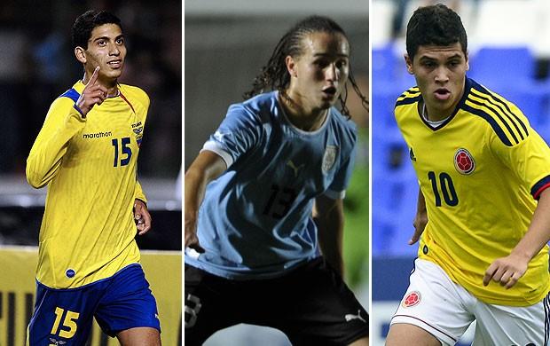 MONTAGEM - Quintero, da Colômbia, e o José Cevallos, do Equador, e Diego Laxalt, do uruguai (Foto: Agência AFP)