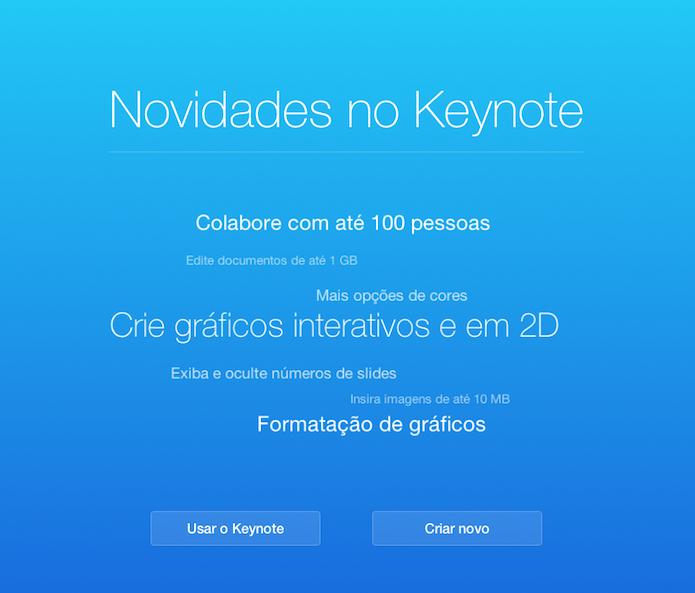 Tela de boas vindas dos serviços do iWork para iCloud exibem as novidades do update (Foto: Reprodução/iWork)