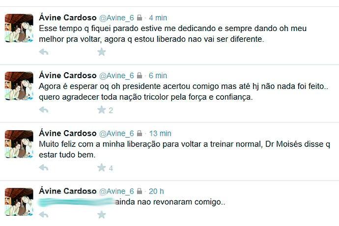 Twitter de Ávine sobre renovação com o Bahia (Foto: Reprodução/Twitter)