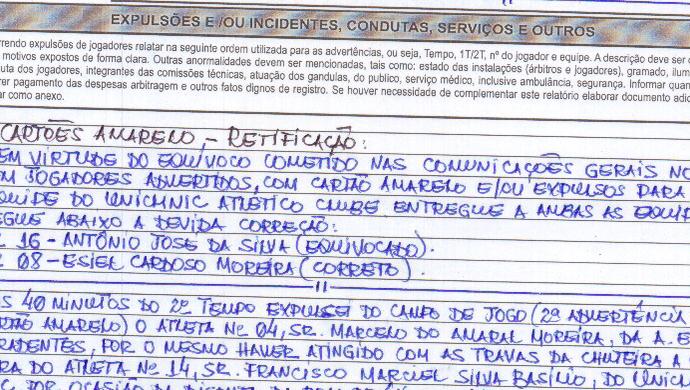 Fragmento da súmula de Tiradentes x Uniclinic Série B do Campeonato Cearense PV (Foto: Reprodução/FCF)