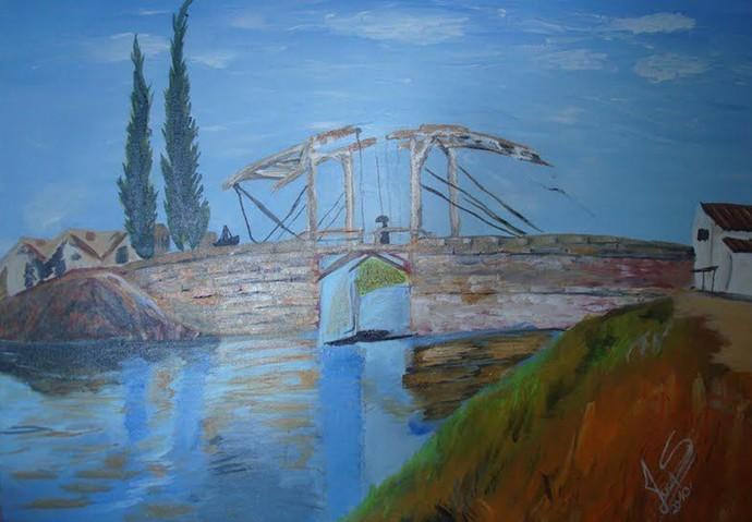 Lucas Veloso e Shaolin pintaram juntos uma réplica da ponte de Van-Gogh (Foto: Arquivo Pessoal)