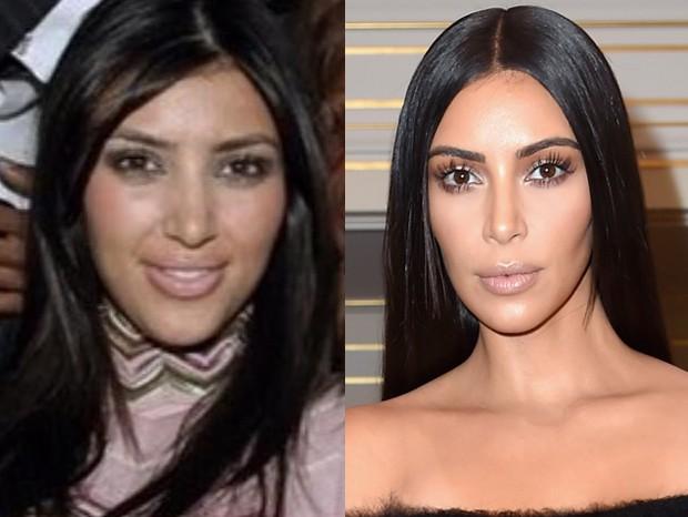 Kim Kardashian em 2006 e em 2016 (Foto: Getty Images)