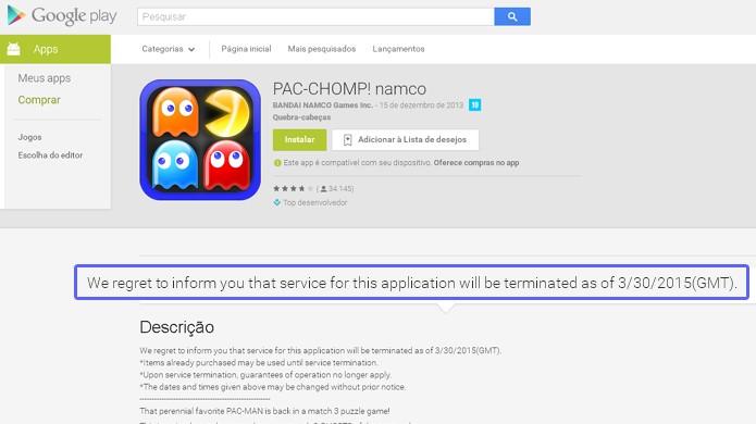 Pac-Chomp e outros games da Namco Banday serão removidos da App Store e Google Play (Foto: Reprodução/Rafael Monteiro)