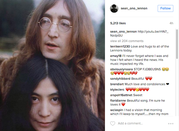 A homenagem feita por Sean Lennon, filho de John Lennon e Yoko Ono (Foto: Instagram)