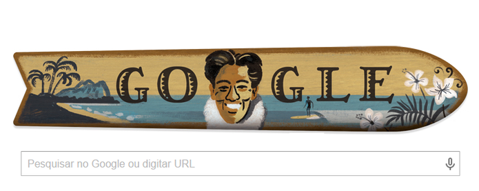 Pai do surf moderno, Duke Kahanamoku, ganha Doodle de aniversário (Foto: Reprodução/Google)