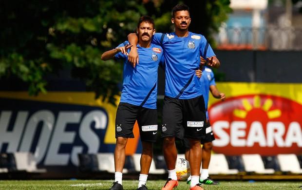 Neymar andré santos treino bigode (Foto: Ricardo Saibun / Divulgação Santos FC )