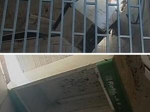 Freezer e geladeira pararam no forro de um bar (Foto: Reprodução/RBS TV)