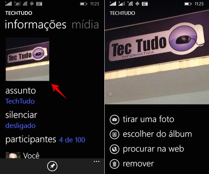 Alterando a foto do grupo no WhatsApp para Windows Phone (Foto: Reprodução/Helito Bijora)