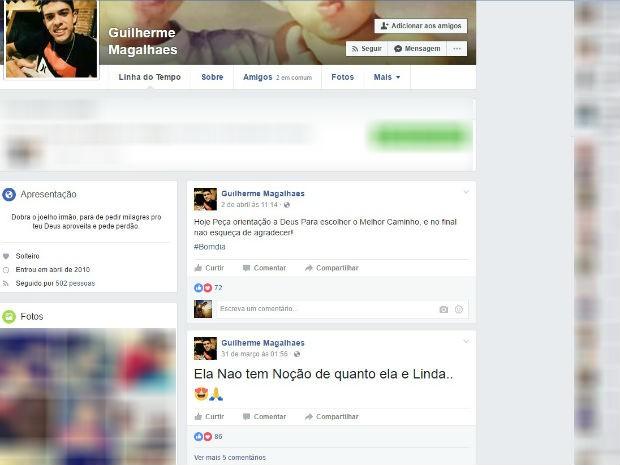 Print Guilherme Magalhães Facebook Uberlândia (Foto: Reprodução/TVIntegração)