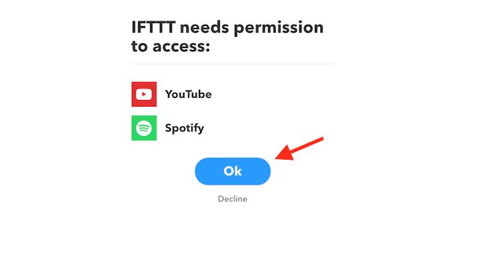 Opção para permitir o acesso do serviço IFTTT ao YouTube e Spotify (Foto: Reprodução/Marvin Costa)
