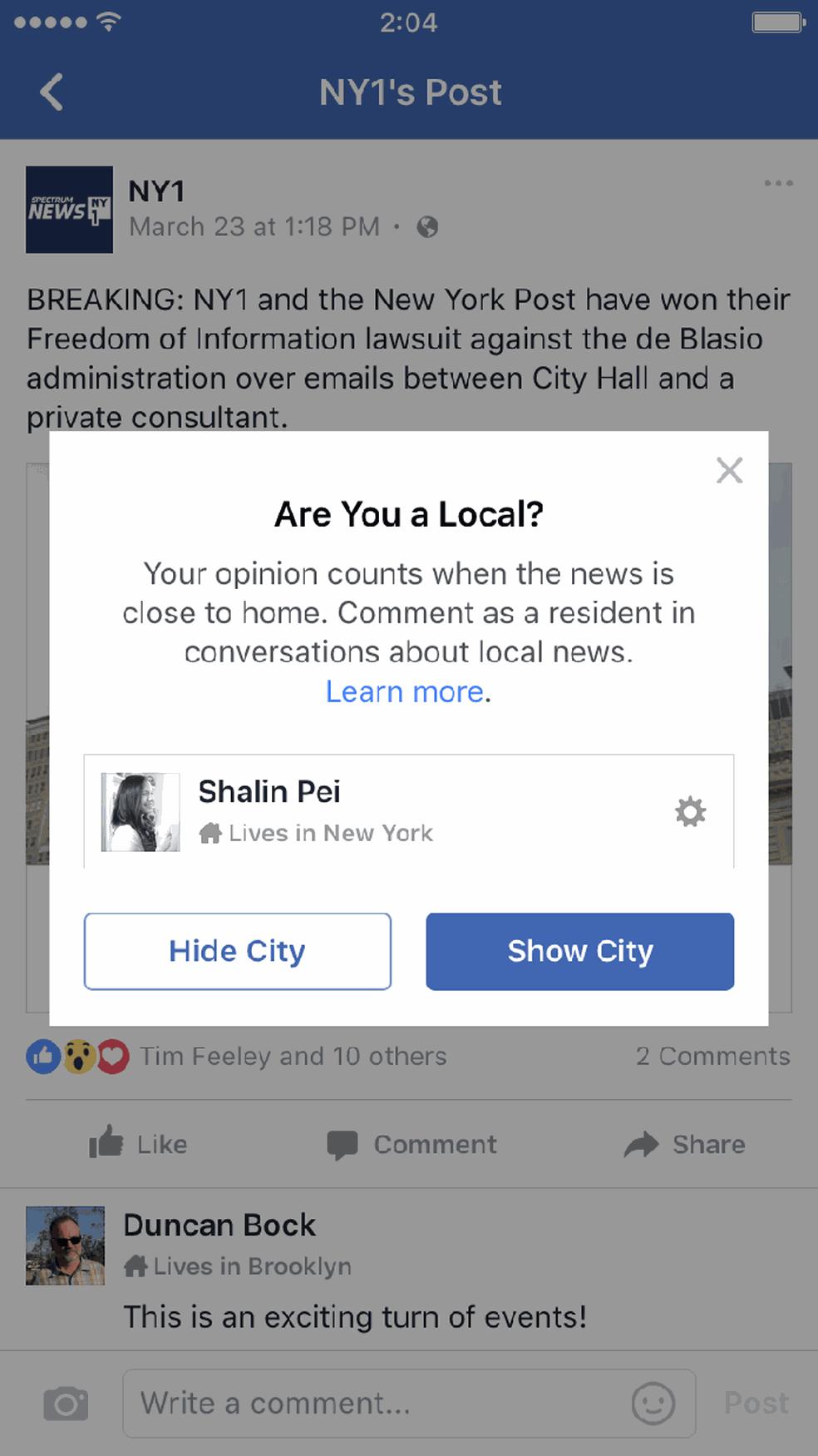Facebook pergunta se usuário deseja tornar a cidade visível (Foto: Reprodução/Poynter)