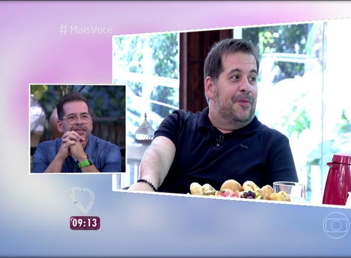 Leandro Hassum se vê comentando o Oscar do ano passado (Foto: TV Globo)
