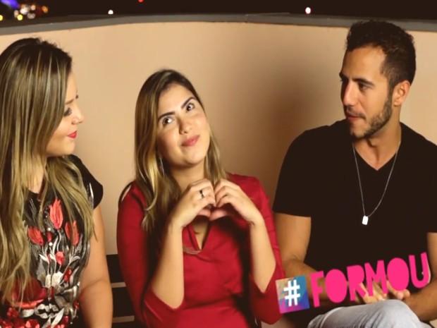 Os ex-bbbs Mateus e Cacau foram entrevistados por Andressa Nunes (Foto: Acervo Pessoal)
