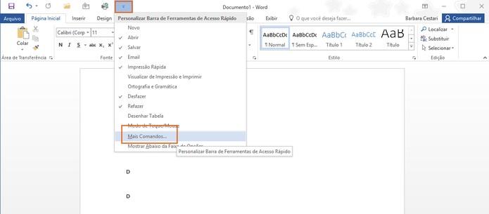 Confira o item de mais comandos para personalizar (Foto: Reprodução/Barbara Mannara)