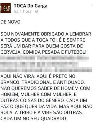 Casal gay é expulso de bar e caso revolta internautas em Santos, SP (Foto: Reprodução/Facebook)