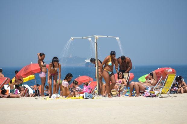 Praia de Copacabana, Rio de Janeiro, nesta quarta- feira (19).  (Foto: Cristiane Cardoso/G1)