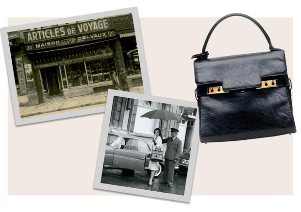 LINHA DO TEMPO: (1829) Fundada na Bélgica por Charles Delvaux, a grife começou como um ateliê de malas. Em 1933, foi comprada por Franz Schwennicke, que inauguraria no ano seguinte a primeira loja (1958) Inspirada na arquitetura belga e decorada com uma i (Foto: Divulgação e Reprodução)