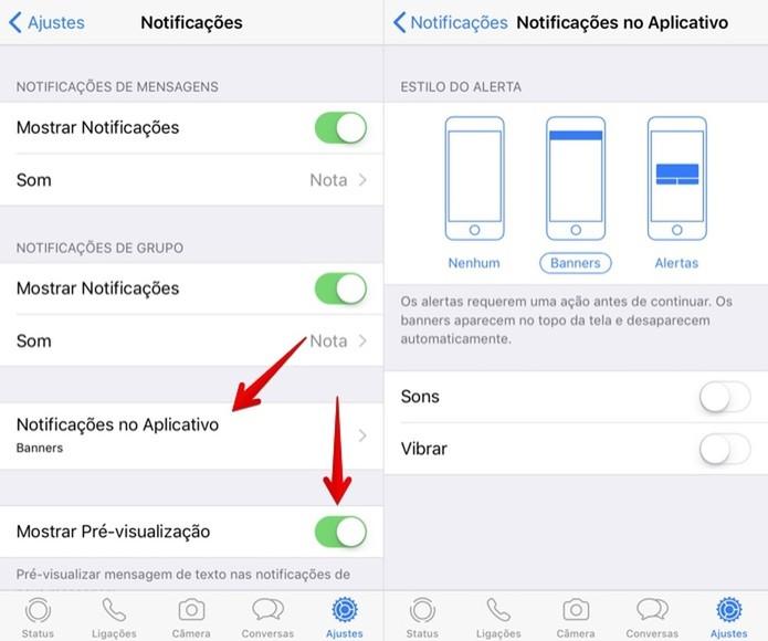 Alterando notificações no aplicativo e preview de mensagens (Foto: Helito Bijora/TechTudo)