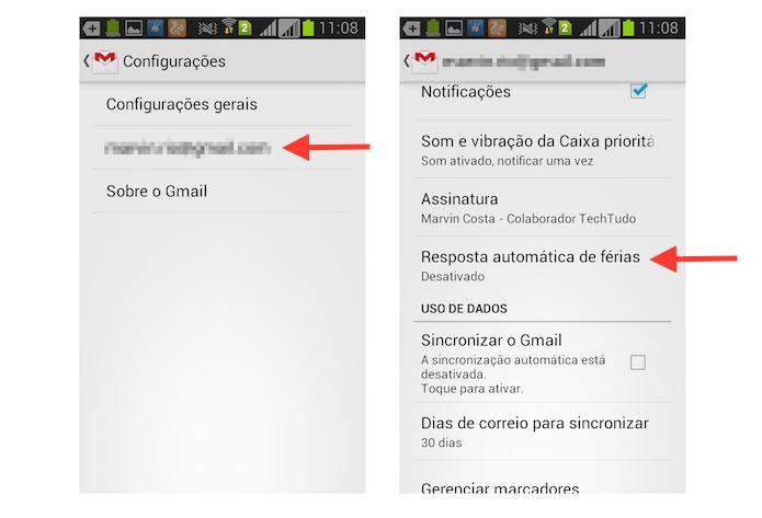 Acessando as configurações de mensagem de férias no aplicativo do Gmail para Android (Foto: Reprodução/Marvin Costa)
